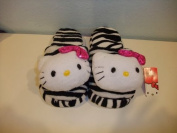 Hello Kitty indoor/ in house slippers - black white zebra with bow
