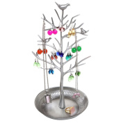 Sliver Decorative Jewellery Tree / Necklace Hanger / Earring Organiser with Free 10 Pairs Earring Safety Backs - Great Choice for Collection and Birthday Gift