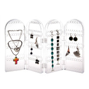 Foldable Acrylic Earring Screen Clear Jewellery Earrings Ear Stud 240 Hole Showcase Display Holder Stand Bracelets, Necklaces Organiser Display Stand with Free 10 Pair Earring Safety Backs - Clear