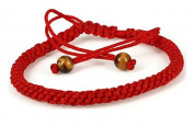 Lucky Auspicious Handmade Stretchable Red String Braided Bracelet with 2 Tiger Eye Beads- good for Prosperity , Success and Wealth