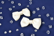 Hair Clips with Ribbon Bows of White Colour