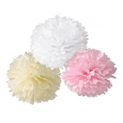 HoHoDeal Set of 6 Mixed Ivory Pink White Tissue Paper Pom Poms Wedding Baby Shower Party Nursery Hanging Decroation