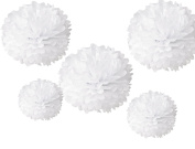 HoHoDeal Set of 5 Mixed 36cm and 25cm White Wedding Paper Flowers Tissue Pom Poms Party Hanging Decoration