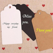 QINF Kraft Paper Hang Tags Lables for Bookmark Gift Bakery Packaging Favours Wedding Party Price Cards Set of 50