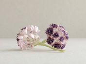 10mm Lilac Gypsophila with Purple Centre - 20pcs - Mulberry Paper Flowers with Wire Stems - Great for Miniature Flower Arrangement