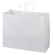 "Halulu 25 Pcs 16x 6"" x 30cm Kraft White Paper Handle Shopping Gift Merchandise Carry Retail Bags"