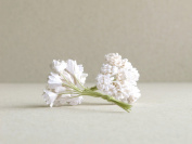 10mm White Gypsophila - 20pcs - mulberry paper flowers with wire stems - Great for bridal corsage and boutonnieres