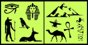Auto Vynamics - STENCIL-EGYPTSET01-10 - Detailed Egyptian & Hieroglyphics Stencil Set - Includes Scarab, Pyramids, Burial Mask, & More! - 25cm by 25cm Sheet - (2) Piece Kit - Pair of Sheets