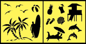 Auto Vynamics - STENCIL-BEACHSET01-10 - Detailed Beach & Ocean Life Stencil Set - Includes Sea Shells, Gulls, Surfers, & More! - 25cm by 25cm Sheet - (2) Piece Kit - Pair of Sheets