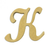 60cm Wood Script Cursive Capital Letter K Unfinished DIY Craft Cutout to Sell Ready to Paint Wooden Stacked