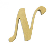 15cm Wood Script Cursive Capital Letter N Unfinished DIY Craft Cutout to Sell Ready to Paint Wooden Stacked