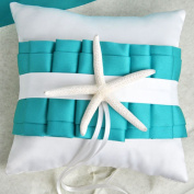 CheckMineOut 20cm x 20cm White Turquoise Starfish Satin Sea Shell Ring Bearer Pillow Beach Themed Wedding Favours Bridal Shower Party Decoration