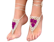 Sealike Handmade Crochet Barefoot Sandals Footless Sandles Beach Wedding Jewellery Shoes with Stylus