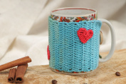 Blue and Green Handmade Crochet Cotton Cup Cosy