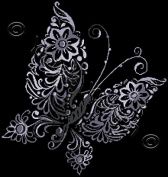 Floral Butterfly in Grey - Modern Counted Cross Stitch Kit