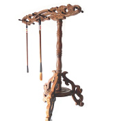12pin Four Treasures of the Study Place Redwood Brush Rack Brush to Hang Wenge Pure Manual Sculpture Handicraft