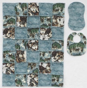 Wolf Print with Coordinating Prints in Blue and Brown Baby Rag Quilt with Matching Burp Cloth and Bib