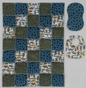 Little Dinosaur Print with Coordinator Prints in Blue and Grey Baby Rag Quilt with Matching Burp Cloth and Bib