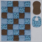 Tool and Tractor Print with Coordinating Geometric and Plaid Prints in Blue and Brown Baby Rag Quilt with Matching Burp Cloth and Bib