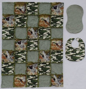 COLEMAN Duck Print with Coordinating Camouflage and Plaid Prints Baby Rag Quilt with Matching Burp Cloth and Bib