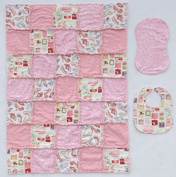 """Born to Shop"" Purse & Shoe Prints with Coordinating Pink Prints, Baby Rag Quilt with Matching Burp Cloth and Bib"