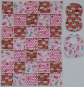 Fun & Loveable SOCK MONKEY Print with Coordinating Prints in Pink, Baby Rag Quilt with Matching Burp Cloth and Bib