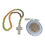 Non Toxic Wooden Kiddie Rosary with 5 Different Colours 50cm Boxed with Crib Medal, Nice Baby Christening or Nursery Gift