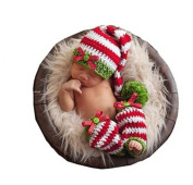 Pinbo Newborn Baby Photo Photography Prop Costume Corchet Ribbon Stripe Hat Leg Warmer
