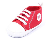 Dealzip Inc® Red Newborn Baby Boy Girl Soft Crib Canvas Sneaker Shoes 6-9 Months
