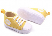 Dealzip Inc® Yellow Newborn Baby Boy Girl Soft Crib Canvas Sneaker Shoes 9-12 Months