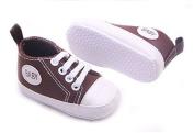 Dealzip Inc® Coffee Newborn Baby Boy Girl Soft Crib Canvas Sneaker Shoes 9-12 Months