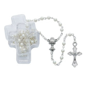 Beautiful White Pearl Communion Rosary with a Silver Ox Crucifix and Centre