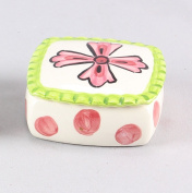 Pink Cross Ceramic Covered Trinket Box