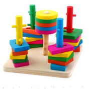 Block Wise Disc Five Column Set Building Blocks Wooden Educational Toys