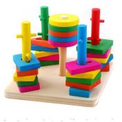 Block Wise Disc Five Column Set Building Blocks Wooden Educational Toys