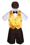 Leadertux 5pc Formal Baby Toddler Boys Yellow Vest Brown Shorts Suits Cap S-4T (M: