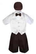 Leadertux 5pc Formal Baby Toddler Boys White Vest Brown Shorts Suits Cap S-4T (L: