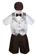 Leadertux 5pc Formal Baby Toddler Boys Silver Vest Brown Shorts Suits Cap S-4T (M: