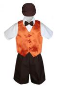 Leadertux 5pc Formal Baby Toddler Boys Orange Vest Brown Shorts Suits Cap S-4T