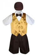 Leadertux 5pc Formal Baby Toddler Boys Gold Vest Brown Shorts Bow Suits Cap S-4T