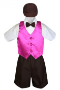 Leadertux 5pc Baby Toddler Boys Fuchsia Pink Vest Brown Shorts Suits Cap S-4T (M:
