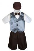 Leadertux 5pc Formal Baby Toddler Boys Dark Grey Vest Brown Shorts Suit Cap S-4T (M: