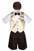 Leadertux 5pc Formal Baby Toddler Boys Champagne Vest Brown Shorts Suit Cap S-4T (M: