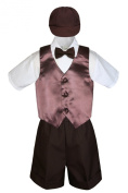 Leadertux 5pc Formal Baby Toddler Boys Brown Vest Bow Tie Shorts Suits Cap S-4T (M: