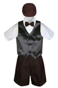 Leadertux 5pc Formal Baby Toddler Boys Black Vest Brown Shorts Suits Cap S-4T