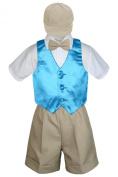 Leadertux 5pc Baby Toddler Boys Turquoise Blue Vest Khaki Shorts Suits Cap S-4T (S: