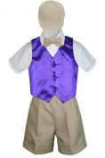 Leadertux 5pc Formal Baby Toddler Boys Purple Vest Khaki Shorts Suits Cap S-4T