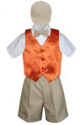 Leadertux 5pc Formal Baby Toddler Boys Orange Vest Khaki Shorts Suits Cap S-4T
