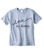 Baby Tee Time Boys' Crew Neck TEE Cursive I love my Mommy funny Shirt
