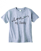 Baby Tee Time Boys' Crew Neck TEE Cursive I love my Daddy funny Shirt